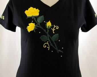 Yellow Rose Shirt, cute women's shirts, sorority yellow rose t-shirt, yellow rose t-shirts, women's shirts, bling shirt, embroidered rose