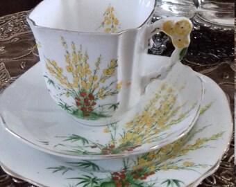 FLOWER HANDLE Royal Stafford Broom tea  cup  Trio  Bone China 1920s Reg No: art deco