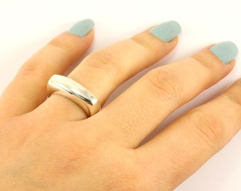 Vintage Plain Mirror Finish Square Ring 925 Sterling Silver RG 586-E