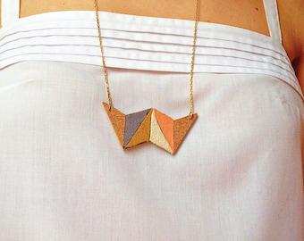 Collar necklace-geometric-Cork-suede-NEWTON