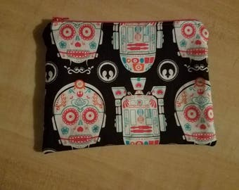 Sugar Skull Droid Cosmetic Bag