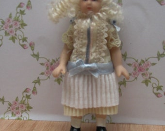 Period Dolls House Doll - Little Girl in Period Dress - Ceramic and Soft Bodied - Curly Blonde Hair