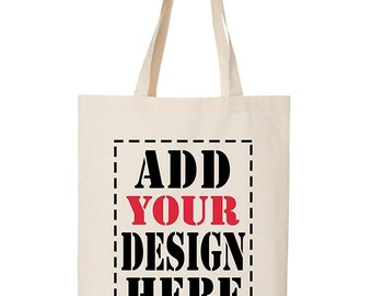 Design Your Own BAG Customized Tote - Add your Picture Photo Text Print - Reusable Canvas Tote Bag - Personalized Carry All Tote