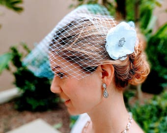Stunning White Birdcage Veil with Satin/Lace Flower and Crystal Brooch, Vintage-style Bridal Veil