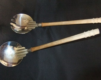 Art Deco Style Metal Salad Servers with Wood Handles