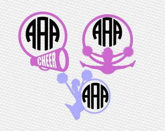 Cheerleader monogram megaphone SVG Clipart Cut Files Silhouette Cameo Svg for Cricut and Vinyl File cutting Digital cuts file DXF Png Eps
