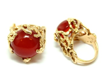 Estate 14k Yellow Gold and Carnelian Brutalist Free Form Ring