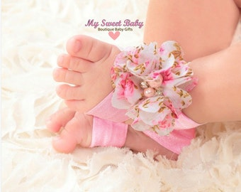 Baby girl headbands, flower headband and barefoot sandals shoes, vintage headbands, headband and barefoot shoes, baby shower gif