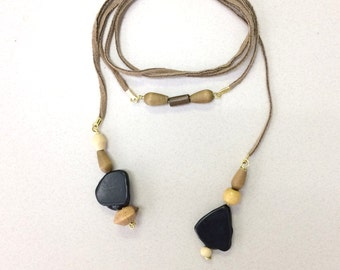 Leather boho lariat tan and black beaded necklace