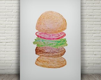 BURGER digital print, kitchen wall art, printable art, food poster, digital download, food illustration, hamburger poster, kitchen art