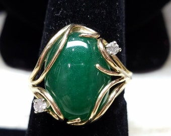 Jade Ring/14K Yellow Gold/Diamonds/One of a Kind/Hand Made