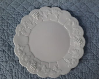 Westmoreland Plate, Milk Glass ''Paneled Grape'', c.1960