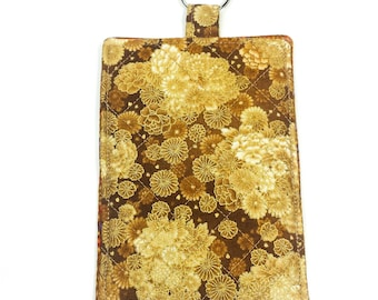 Smartphone Sleeve Case Keyring Asian Flowers Brown Gold