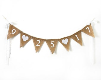 Save the Date Banner, Engagement Photo Prop, Personalized Burlap Banner, Rustic Save the Date