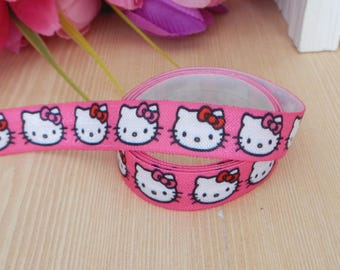 5/8 Cartoon Figure~~Hello Kitty fold over elastic~FOE headband elastic for making diy hair ties~~foldover elastic by the yard