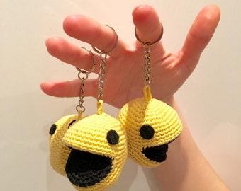 Key ring pac man, pac man gamer key ring, key ring key ring video game, nerd, geek Pac - man, key ring, yellow, funny key ring keychain