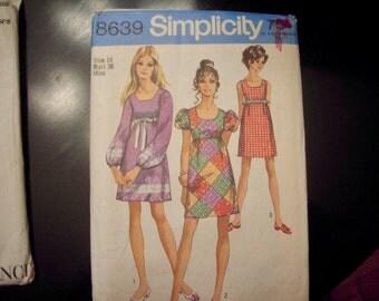 Simplicity  vintage misses dress, 1969