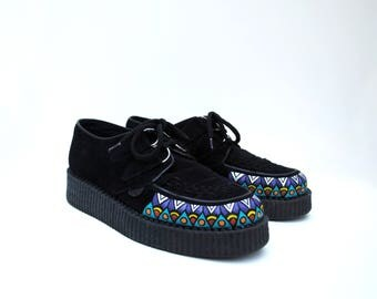 Carnivale Hand Painted Upcycled Women's Suede Creeper Shoes