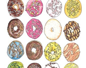 Donuts handmade printable watercolor illustration