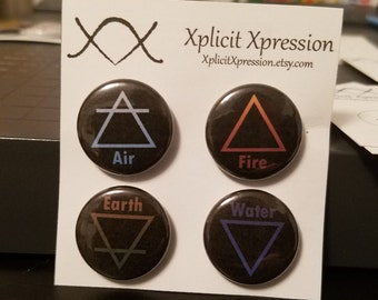 "Alchemy Element Symbols 4 Pack 1"" Pinback Buttons"