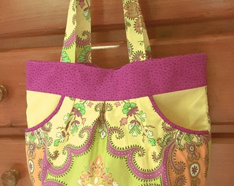 Bag Spring Floral Yellow Pink Pocket Teen Girl Woman Gift