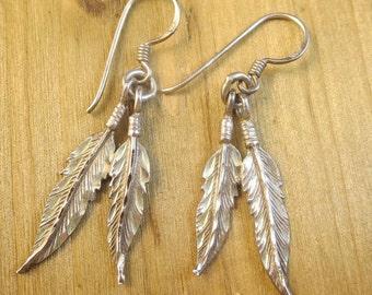 Southwest Earrings Feathers Dangle Earrings Sterling Silver Vintage