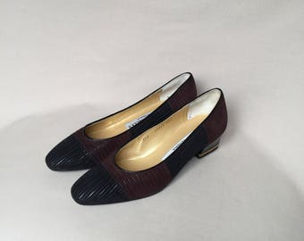 Vintage shoes / block heel / suede shoes / low heels / italian shoes / leather shoes / 80s shoes / flats / pointed flats / suede pumps