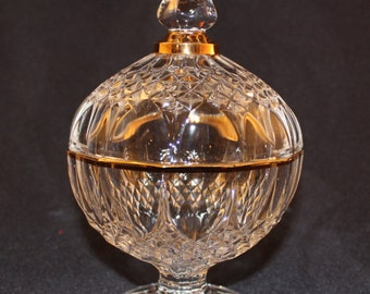 Crystal d Arques Crystal Footed Candy Dish with Lid Longchamp Pattern