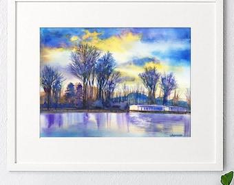 Original watercolor painting, Landscape painting,watercolor landscape,watercolor lake,handmade,abstract lake, colorful lake,house gift