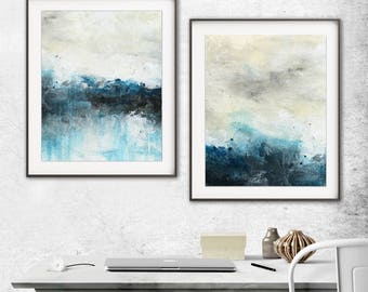 Set of 2 digital prints printable art wall decor instant download diptych art abstract digital print painting blue modern artwork decor