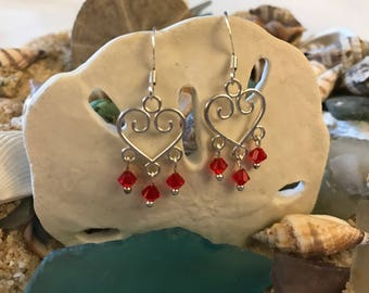 Heart Chandelier Dangles with Sterling Silver Ear Wires and Red Swarovski Crystal Faceted Bicones
