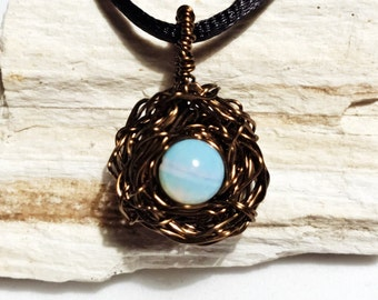 Bird Nest Necklace Moonstone Wire Wrapped Bird Nest, Hand Crafted Motherhood Gift New Mother Baby Shower Gift