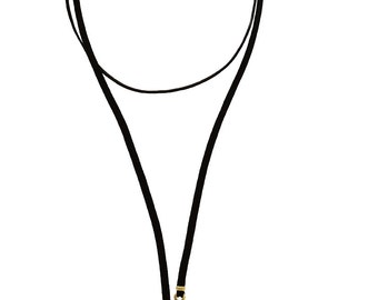 Necklace Choker with adjustable neck length plated gold toggle clasp