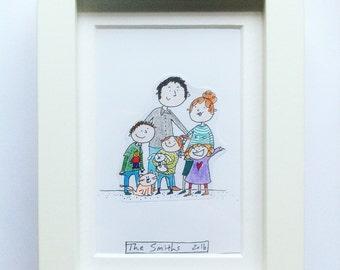 Custom Hand Drawn Family Portrait Illustration