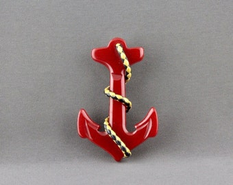 Vintage Red Bakelite Anchor Pin With Braided Leather Rope