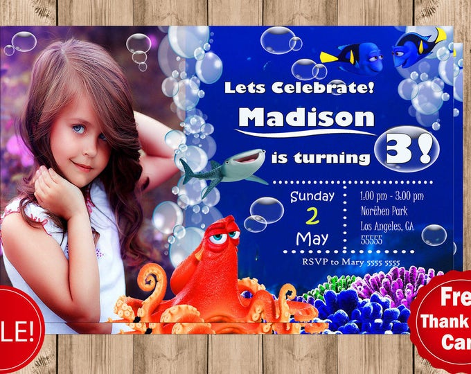 Finding Dory birthday invitation Personalized invitation Printable invitation Baby invitation Girl invitation digital file