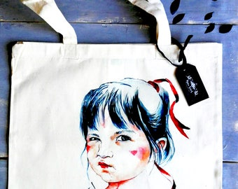 COTTON bags, tote bags, illustrations, drawings, children, fun, special, for her, for the purchase, folder and book bag.