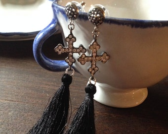 Black silk tassel earrings with crystal pave crosses hanging from 925 silver pave post. Pave cross earrings.