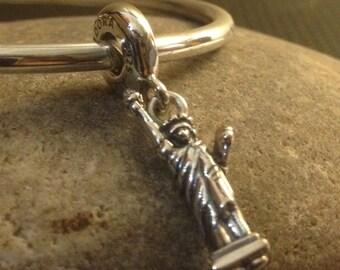 "Pandora ""Statue Of Liberty"" Genuine New York Travel/Vacation Sterling Silver Bracelet Charm/Bead Free Velvet Pouch Bag"