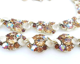 vintage LISNER necklace and bracelet and earrings, gold tone, topaz, ab, rhinestones, signed, vintage jewelry jewellery