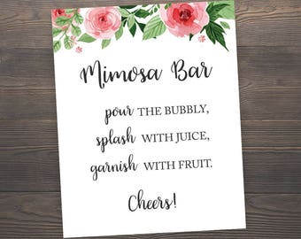 Mimosa Bar Sign, Printable Wedding Bar Sign, Bubbly Bar Sign, Floral Wedding Decor, Mimosa Bar Printable, Mimosa Sign, Bubbly Sign, GFBS4