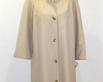 Vintage Clothing • 1960's Mid-Length •Beige Neutral Swing Overcoat •