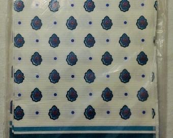 "Vintage Hallmark Ambassador | Paper Table Cloth Cover | Teals & Blues With Designed Border | 54"" x 89-1/4"" | 1990's"