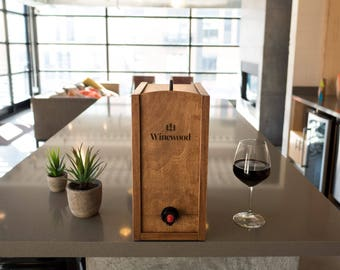 The 5L Winewood Case - Wooden Case for Boxed Wine - Fits 3 & 5 Liter Boxed Wine - Stain: Hazelnut - Case, Cover, Holder