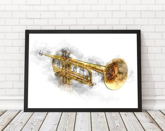 Trumpet poster watercolor, Trumpet Wall art, Jazz wall poster, Musician Gift, Music Decor, Music poster,PRINTABLE poster, Musical Instrument