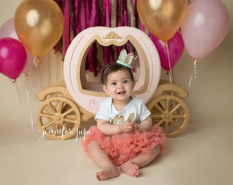 First Birthday Cake Smash | Glitter Crown | Birthday Girl Outfit | Gold Pink Mint