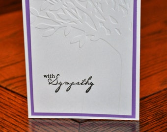 Sympathy Card with Embossed Tree - Purple