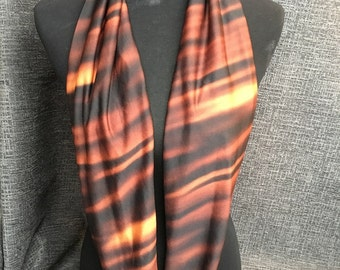 Black and Brown Infinity Scarf, Brown Scarf, Circle Scarf, Fashion Scarf, Infinity Scarf, Dressy Scarf, Unique Scarf, Caramel Scarf, Cowl
