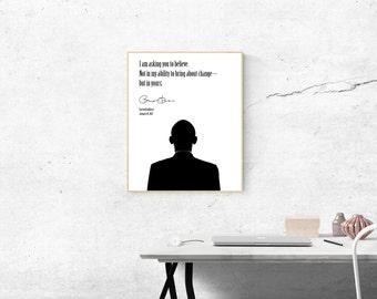 President Barack Obama 2017 Farewell Address Poster | Digital Download | Wall Art | Modern Minimalist | Black and White | Home Decor