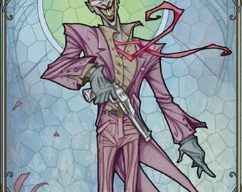 The Joker (tableau unique style vitrail Art-Nouveau sur bois)